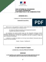 Sujet Épreuve Écrite Concours Externe Réseaux Télécommunications Et Équipements Associés - Session 2014