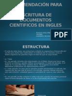 Diapositivas Recomendación Para Escritura de Documentos Cientificos en Ingles - Yesid Peña