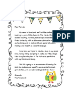 Student Teaching Parent Letter