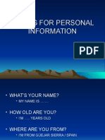 Asking for Personal Information