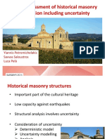 Seismic assessment of historical masonry construction including uncertainty
