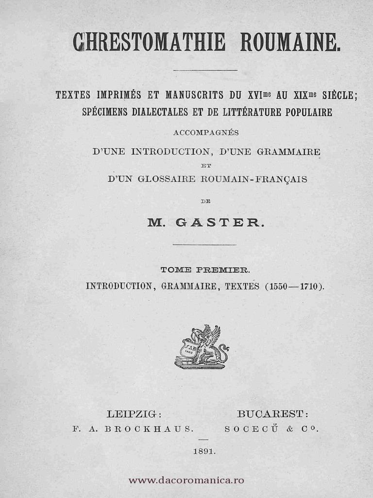 Chrestomatie română - Texte tipărite şi manuscrise [sec  XVI - XIX