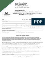 sportscamp registration form