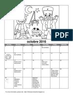 Pre-k Calendar October 2016