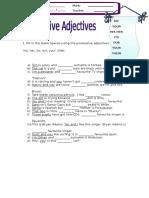 Possessive Adjectives 2012
