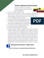 Lista de Beneficios Laborales en Ecuador