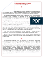 Discurso en El Politeama - Manuel Gonzales Prada