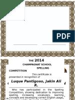 Festival of Language 2015 Certificate