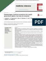 Epidemiología y Factores Pronósticos de La Sepsis