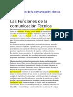 Las Funciones de La Comunicación Técnica