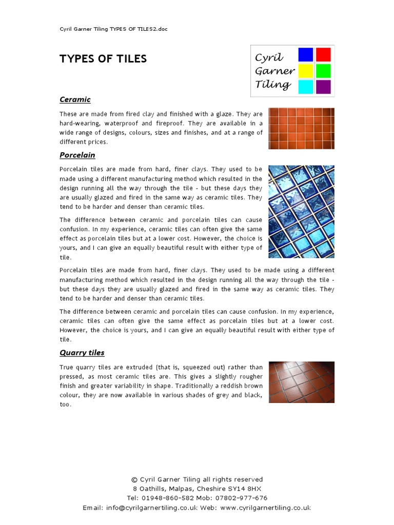 Types of ceramic tiles pdf image collections tile flooring cyrilgarnertilingtypesoftilespdf tile porcelain doublecrazyfo image collections dailygadgetfo Image collections