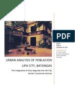 Urban Analysis of Poblacion, Lipa City - Integration of Casa Segunda Into the Economic Activity of Batangas