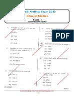 MPPSC Prelims Exam 2013 General Studies (Paper - I)