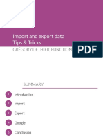 Import and Export Data - Tips Tricks