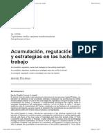 Acumulación, regulación, ondas y estrategias en las luchas del trabajo