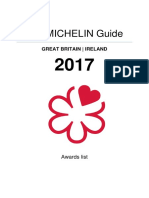 The Michelin Guide 2017 UK Awards List