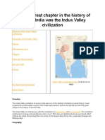 The First Great Chapter in the History of Ancient India Was the Indus Valley Civilization