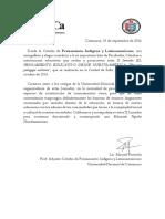 Cátedra de Pensamiento Indígena y Latinoamericano. Adhesión.