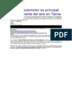 Parque Automotor Es Principal Contaminante Del Aire en Tacna