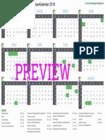 Kalender 2018 a4 Liggend Feestdagen Preview
