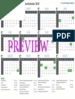 Kalender 2020 a4 Liggend Feestdagen Preview