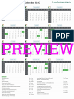 Kalender 2020 a4 Staand Feestdagen Preview