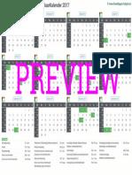 Kalender 2017 a4 Liggend Feestdagen Preview