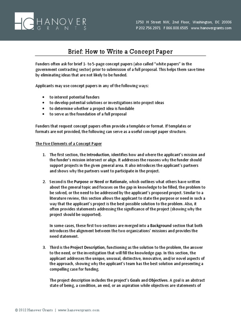 how to write a concept paper for a project How to write proposals that get funded: the summary should appear on a separate sheet of paper the above guidelines can assist project staff in writing.