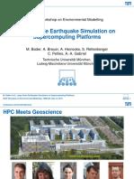 Bader Large Scale Earthquake Simulation on Supercomputing Platforms