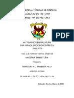 Tesis Matrimonios en Mazatlan. Una Mirada Sociodemografica