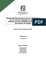 Requerimientos Tecnicos Pliego de licitación para sistema integrado de gestión de la biblioteca nacional de argentina