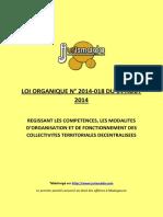 Loi 2014 18 Competences Modalites d Organisation Et Fonctionnement Des Collectivites Territoriales Decentralisees