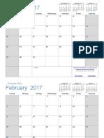 2017 Calendar Light