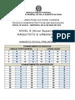 Gabarito Oficial Preliminar - Arquiteto e Urbanista - e