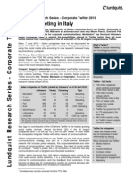 Lundquist Corporate Twitter Research Italy 2010 Executive Summary