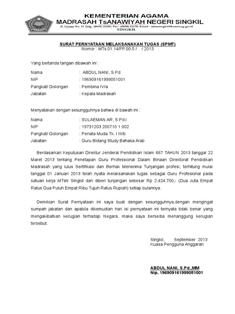 1. Surat Pernyataan Melaksanakan Tugas(Spmt) an. Sulaeman Ar