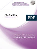 Justificaciones Paes 2015 Lenguaje y Literatura