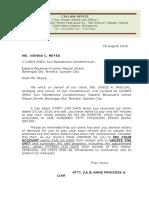 Demand Letter to Vacate Condominium Unit