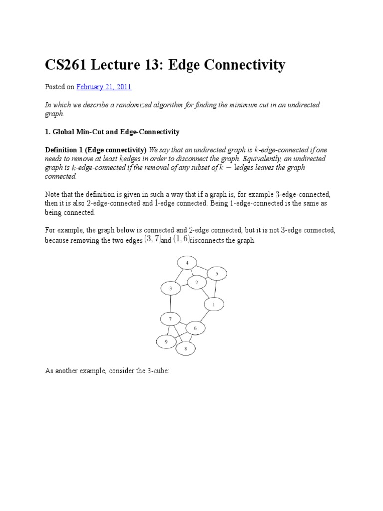 Edge Connectivity.docx | Vertex (Graph Theory) | Mathematical Relations