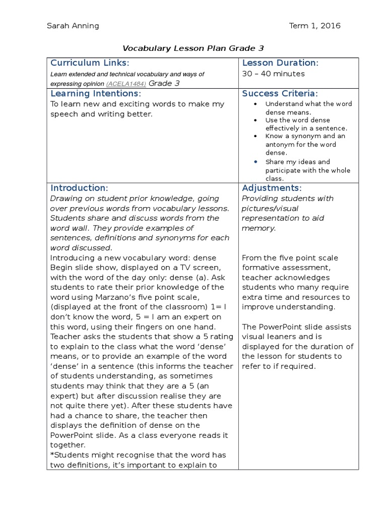 Vocabulary lesson plan vocabulary lesson plan biocorpaavc