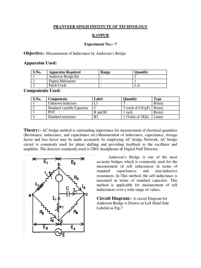 Experiment No 7 Inductance Capacitor Resistance Measurement Circuit Diagram