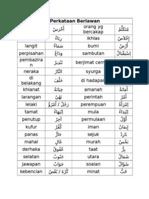 Perkataan Berlawanan Bahasa Arab