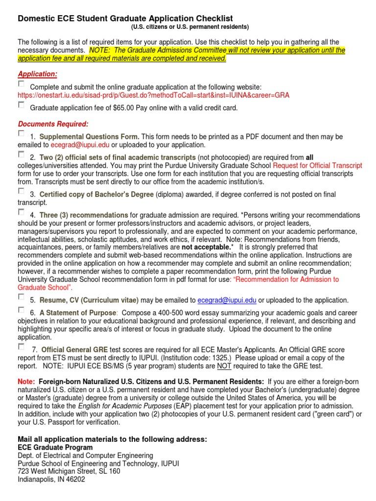 Domestic Checklist | Graduate School | Graduate Record Examinations
