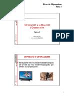 Tema 1- Introduccio a La Direccio d Operacions