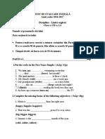 Test de Evaluare Iniţială 7 2016-2017
