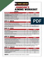 Dwayne Johnson Mass Gaining Workout Chart