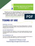 Activities 50 Fine Motor Activities Ages0 3 PDF