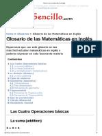 Glosario de Las Matemáticas en Inglés