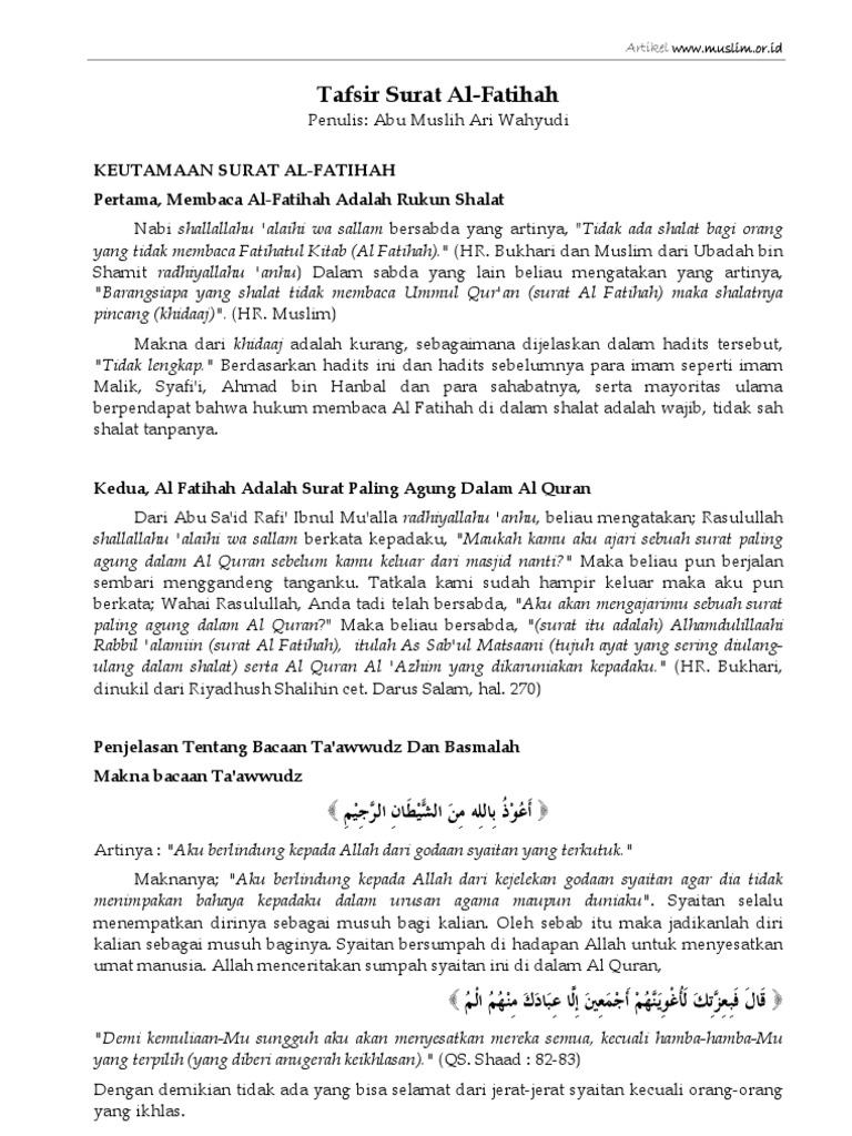 Tafsir Surat Al Fatihah Abu Muslih Ari Wahyudi