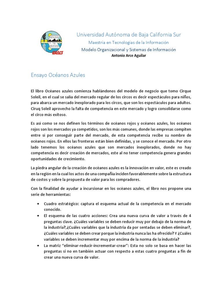 Ensayo Océanos Azules Antonioarceaguilar Pdf Mercado